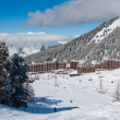View on alpine skiing resort - Stock Photo