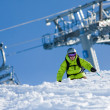 Off-piste skiing - Stockfoto