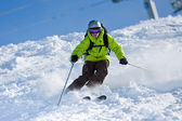Off-piste skiing — Stock Photo