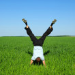 Man on a green meadow — Stock Photo