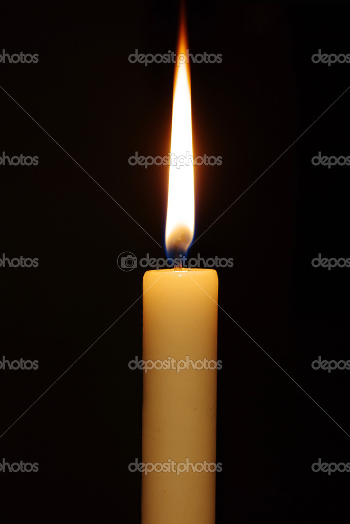 burning candle isolated on black background — Stock Photo #2870468