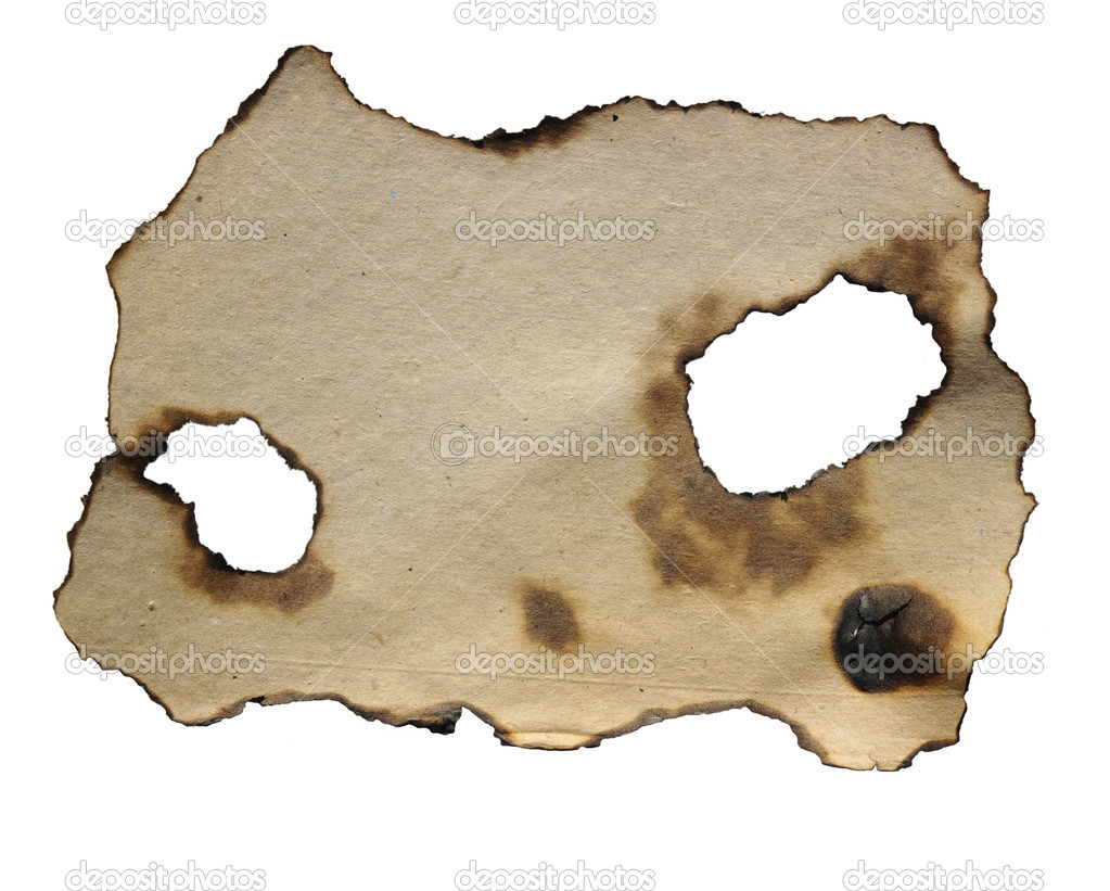 Burnt paper over white background  Stock Photo #3241148