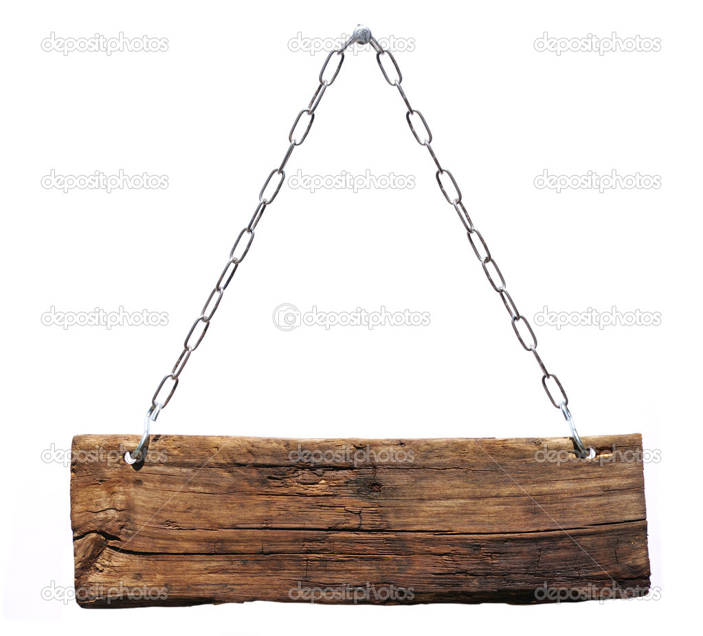Wood sign, hanging from a chain — Stock Photo #3704735