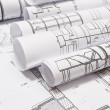 Rolls of Engineering Drawings — Stock Photo