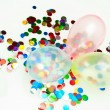Balloons and confetti — Stock Photo
