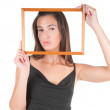 Woman with frame — Stock Photo