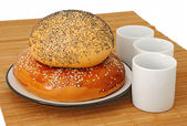 Bagel and roll — Stock Photo