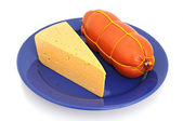 Boiled sausage and cheese — Stock Photo