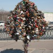 A tree with wedding locks. Moscow — Stock Photo