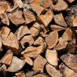 Stock Photo: Firewood stacked in woodpile
