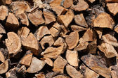 Firewood stacked in a woodpile — Stock Photo