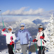 Skiers mountains in the background — Stock Photo