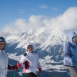 Skiers mountains in the background — Stock Photo #3888538