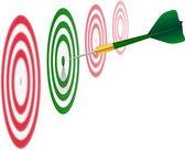 Zielony dart. koncepcja sukcesu. — Wektor stockowy