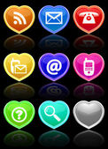 Glossy communication buttons set. — Vector de stock