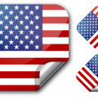 Sticker with Usa flag — Stock Vector