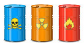 Barrel of chemicals. The poison, radiation, flammable. — Stok Vektör