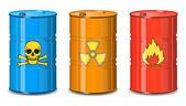 Varil kimyasal. zehir, radyasyon yanıcı. — Stok Vektör