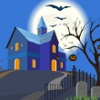 Halloween pumpkin and house. Vector. EPS8. — Stock Vector