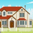 Family House. Vector illustration. EPS8 — Vector de stock