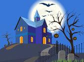 Halloween kürbis und haus. vektor. eps8. — Stockvektor