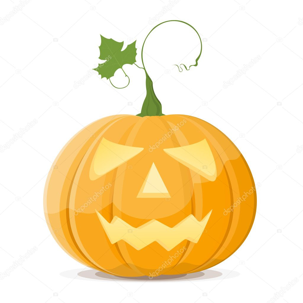 Halloween Pumpkin vegetable fruit isolated on white background. Vector. EPS8 — Stock Vector #3730253