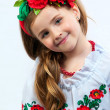 Young pretty girl in a ukrainian national costume — Foto Stock