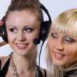 Two women listening to music — Stock Photo #3547728