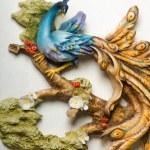 statuette di uccelli di porcellana blu — Foto Stock