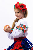 Young girl on a white background in the studio — Stock Photo