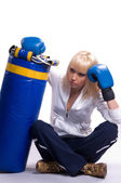 Blonde woman in sports — Stock Photo