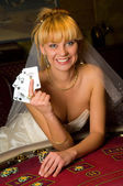 Happy bride in a casino — Stock Photo