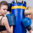 2 women involved in boxing — Stock Photo #3764896