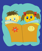 Boy and girl read book — Stock Photo