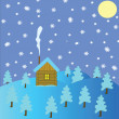 Stock Photo: Lodge in wood winter