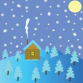 Chata zimą drewno — Zdjęcie stockowe