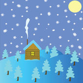Lodge no inverno madeira — Foto Stock