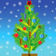 Stockfoto: Natty fir tree with toy on her