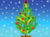 Natty fir tree with toy on her — Foto Stock