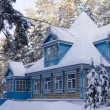 The Russian house in the winter — Stock Photo