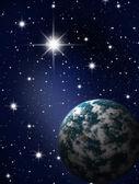 Planet in stars sky — Stock Photo