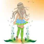 Afscheid zomer meisje — Stockvector