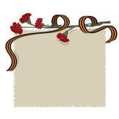 цветок гвоздика и ленты — Cтоковый вектор