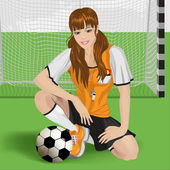 Football girl sitting — Stock Vector