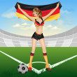 The girl germany soccer fan — Imagen vectorial