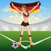 The girl germany soccer fan — Vector de stock