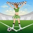 Girl soccer fan — Photo