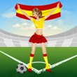 Stock Vector: Spanish soccer fan