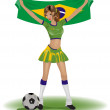 Vector de stock : Brazil girl soccer fan