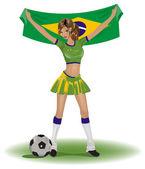 Brazílie dívka fotbalový fanoušek — Stock vektor